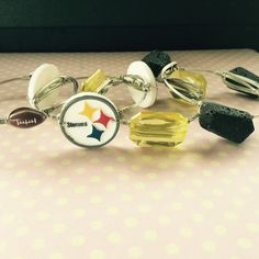 Wire wrapped bourbon and boweties inspired steelers bangle