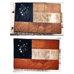 """Images of the flag of the Marion Light Infantry before (T) and after (B) conservation treatment. Flag: 4th Alabama Infantry (Co. G, Marion Light Infantry) Catalogue No. 86.4007.1 (PN16344-16346) Provenance Reconstruction: This flag was made in Marion, Alabama, and painted byNicola Marschall. According to a letter printed in theWeekly Marion American, on July 17, 1861, this flag was sent to the Marion Light Infantry after their arrival in Virginia. The flag was donated by the ladies of Marion and taken to the company by John Conch. It was described as bearing a """"beautiful device which illustrates so aptly the product of our lovely country"""" (apparently a reference to the cotton plant and bale of cotton painted on the obverse of the flag). In several postwar accounts it is referred to as """"the cotton bale flag."""" The reverse of the flag is an 11 star first national Confederate flag. This flag was among the 10 company flags carried by the 4th Alabama Infantry during a dress parade at Harper's Ferry in June 1861. When the 4th Alabama was brigaded under General Bernard Bee all of the company flags with the exception of this one, were turned over to the company officials.1The flag of the Marion Light Infantry continued in use as the regimental colors. In a letter dated July 23, 1913, William H. Fiquet, a former member of the Marion Light Infantry, noted that the regiment carried the """"flag with the cotton bale on it at First Manassas."""" In addition, according to an account attributed to the flag bearer, he was carrying this flag at the first Battle of Manassas when he witnessed the conversation between General Bernard Bee and Captain Porter King which resulted in Thomas J. Jackson receiving the nickname """"Stonewall."""" The flag was brought home by Captain King who returned to Marion after one year of service. He later gave the flag to his son Porter King. The flag was presented to the Alabama Department of Archives and History by Mrs. Porter King on March 15, 1904. This flag rece"""
