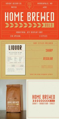 Home Brewed Bold - Industrial Font Great Fonts, New Fonts, Industrial Font, Visual Hierarchy, Branding Materials, Passion Project, Typography, Lettering, Font Styles