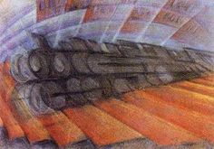Luigi Russolo - Dynamism of a Train, 1912 Abstract Art Images, Abstract City, Futurism Art, Retro Futurism, Luigi, Futurist Painting, Italian Futurism, Art Of Noise, Organic Art
