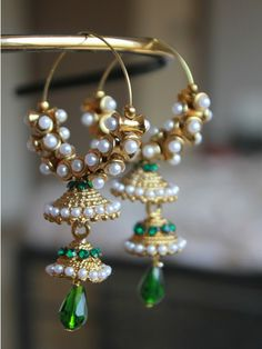Hoop styled Jhumkas with Pearl and Green stone work | Sweta Sutariya