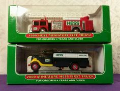 Lot of 2 Original Vintage Miniature Hess Trucks w/ 2000 First Hess Truck NIB #hess