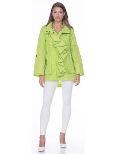 Lime Ruffle Raincoat Green Raincoat, Ruffles, The Selection, Lime, Jackets, Shopping, Collection, Fashion, Down Jackets
