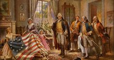 The Birth of Old Glory. Betsy Ross shows George Washington (and three other men) the completion of the first American flag (c. First American Flag, Early American, American Pride, American Flag History, American Group, American Quotes, American Symbols, American Presidents, Thomas Jefferson