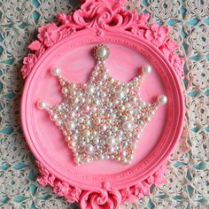 RESERVED FOR EMILY. Princess crown art. Framed art. Girls room decor. Sparkle glitter picture.Ornate hot pink.Round frame.Shabby chic.
