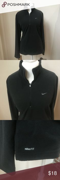 Nike Light Weight Half Zip Fleece Jacket Size M Black Nike fleece with a half zip. Also has a zippered pocket. Made of 100% polyester. Length is 26.5 inches, across the chest is 20.5 inches, and the sleeve length is 20 3/4 inches. Nike Jackets & Coats