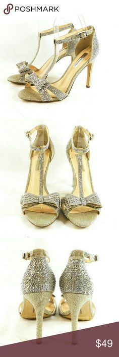"""INC Reesie2 Gold Bow Evening Sandals Thanks for checking out my closet. I take all my own pics. The shoes are authentic and in great pre-owned condition. Shoes have man made upper with 4"""" heel. INC International Concepts Shoes Heels"""