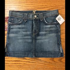 7 For all mankind Skirt Cute 7 For All mankind Rocker Mini Denim Jean Skirt! Women's Size 26 color liv! NWT 7 for all Mankind Skirts