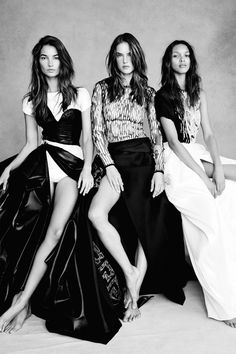 """"""" Lily Aldridge, Alessandra Ambrosio & Lais Ribeiro in """"Close To Heaven"""" for Vogue UK, November 2014 Photographed by: Patrick Demarchelier """" """""""