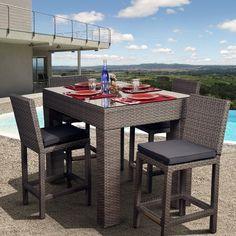 Outdoor Atlantic Monza All Weather Wicker Deluxe Bar Height Patio Dining Set    Seats 4   PLI MONZA5RECT GR_GR
