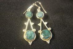 Rough Cut Jade Set in Sterling Silver Earrings #Unbranded