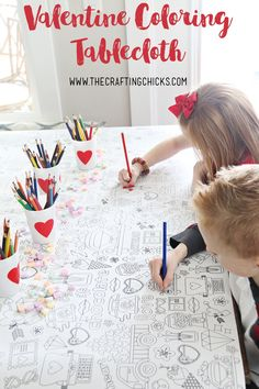 Valentine's Day Coloring Tablecloth - Take your Valentine Party to the next level with our adorable Valentine Coloring Tablecloth. Fun for kids and adults of all ages.