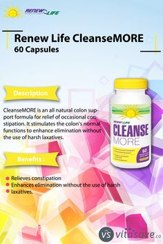 Renew Life CleanseMORE is an all natural colon support formula for relieves constipation. Slippery Elm Bark, Relieve Constipation, Ulcerative Colitis, Nutritional Supplements, Beauty Care, Natural Health, Cleanse