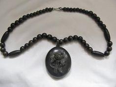 Victorian Vulcanite Photo Locket Black Bead Necklace