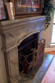 If you love the look of the aged-plaster walls, marble, stone and wood grain found in European homes, try recreating the dimension, depth. Cast Stone Fireplace, Paint Fireplace, Brick Fireplace Makeover, Faux Fireplace, Fireplace Mantle, Faux Stone Fireplaces, Faux Finishes For Walls, Faux Walls, Plaster Walls