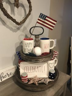 Cheap Party Decorations, 4th Of July Decorations, Classic Home Decor, Fall Home Decor, Cheap Office Decor, Cheap Home Decor, Galvanized Tray, Independance Day, Interior Colors