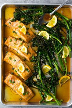Looking for an EASY salmon recipe? This simple honey lemon salmon recipe is baked up on a sheet pan with broccolini and a honey lemon sauce. Ready in 25 minutes, and it also makes a great meal prep lunch!
