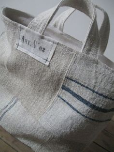 Love these grain sack reuse. to bad the cloth is so expensive and comes all the way from Europe Ticking Fabric, Linen Bag, Fabric Bags, Everyday Bag, Cute Bags, Handmade Bags, Small Bags, Bag Making, Purses And Bags