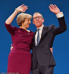 Theresa May has said that her husband Philip has been enjoying his role as the spouse of t. Teresa May, Obama, Peplum Dress, Husband, Formal, Hair Styles, People, Dresses, Politics