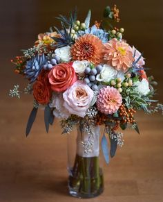Textural Fall bouquet of dahlia and succulents, orange and gray by Lark Floral, Leesburg, VA Fall Bouquets, Wedding Bouquets, Floral Wedding, Wedding Flowers, Dahlia Flower, Flower Farm, Flower Designs, Floral Arrangements, Beautiful Flowers