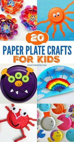 These 20 Paper Plate Crafts for Kids are perfect to use on rainy days, party crafts, summer camp or at school. Make a monster, a rainbow, happy fish and crabs and so much more! Great for kids of all ages! #artsandcraftsforkids #paperplatecrafts