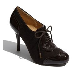Circa Joan & David 'Evensen' Oxford Dark Brown Patent 4.5 M ($65) found on Polyvore
