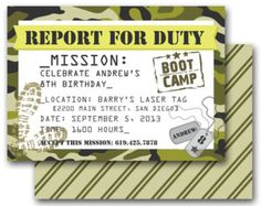 boot camp theme party | Camo Party Invitation - Army Boot Camp Laser Tag birthday party invite ...