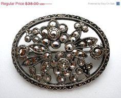 30% Off Flower Brooch Sterling Silver by TheJewelryLadysStore