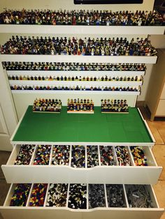 Legos!!! Ikea hack! Display your lego mini figures using Ikea shelves. Lower Ikea dresser with dividers to store smaller lego bricks. The top for building and creating