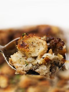 This classic combination of bread, pork sausage, aromatics, and lots of sage produces a sausage bread stuffing that says Thanksgiving to me. Sausage Bread, Sausage Stuffing, Thanksgiving Recipes, Thanksgiving Stuffing, Winter Recipes, Christmas Recipes, The Fresh, Casserole Dishes, Bacon