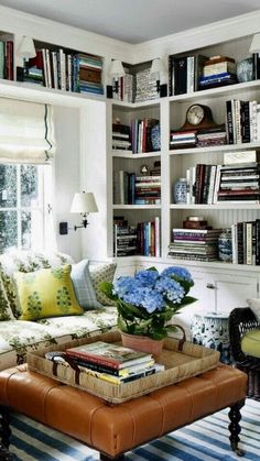 57 Trendy home library cozy sofas Cool Bookshelves, Built In Bookcase, Book Shelves, Bookshelf Ideas, Styling Bookshelves, Diy Bookcases, Bookcase White, White Shelves, Living Room Lighting