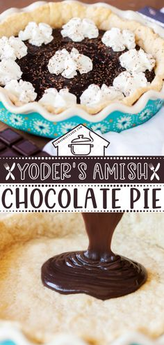 Yoder's Amish Chocolate Pie is a smooth and silky chocolate pie recipe. This delicious Valentine's day dessert is satisfying without being overly rich. This easy Valentine's day treats practically melts in your mouth. Save this quick and easy chocolate dessert! Chocolate Pie Recipes, Easy Chocolate Desserts, Chocolate Pies, Sweet Desserts, Baked Pie Crust, Pie Crust Recipes, Friend Recipe, Valentines Day Desserts