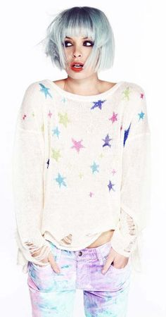 White Long Sleeve Multi Stars Print Loose Sweater EUR€18.14