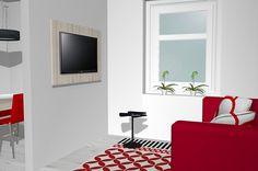 Panel TV colocado en la pared del catálogo KAY
