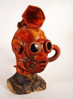 Bob Basset Steampunk sapper. Leather mask. Ear Trumpet