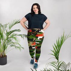 e9301a08f2162 Kikue Orange Green Military Print Camouflage Camo Women's Yoga Pants Tights  Plus Size Leggings - Made in USA (US Size: 2XL-6XL)