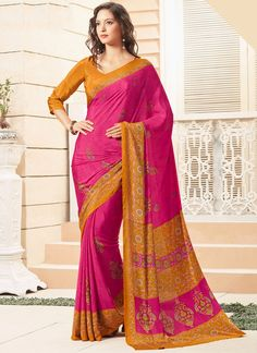 Saree collection for any women buy online. Order this faux crepe print work printed saree for casual.