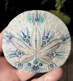 Hand Painted Sand Dollar – Beach Art – Ocean Art – Sand Dollar Painting – Dotted – Dotism – Painted Dots – Beach Cottage Decor Boho Chic Hand Painted Sand Dollar Beach Art Ocean by ShannonTamayoJewelry Seashell Painting, Seashell Art, Seashell Crafts, Painting On Shells, Crafts With Seashells, Painting Art, Starfish, Sand Dollar Art, Sand Dollar Ideas