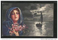 Artiste-CPA E.Colombo: Schöne Dame mit blauem Tuch und rosa Blumen am Meer