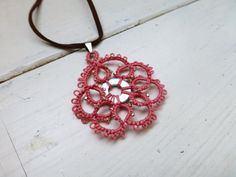 Tatted lace necklace pink lace pendant by SixthandDurianGifts
