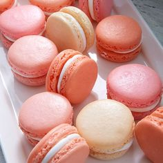 Pink and Coral Macarons - macaron recipe Vanilla Macarons, Pink Macaroons, Orange Aesthetic, Aesthetic Food, Aesthetic Vintage, Aesthetic Pastel Pink, Pink Vanilla, Vanilla Cake, Macaroons