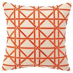 """Cane Pillow in Orange.  Embroidered pillow with a down fill.  Product: Pillow.  Construction Material: Linen cover and feather down fill.  Color:  Orange and white.  Features: Insert included, Hidden zipper. Designed by Courtney Cachet.  Dimensions: 16"""" x 16"""" Cleaning and Care: Spot clean"""