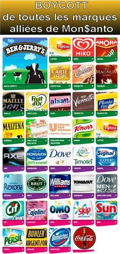Boycott MONSANTO-Roundup : enfin la liste des marques complices assassines !!!