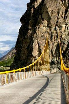 The Kanchzai Bridge between Ghizer and Ishkoman towards East of Gahkuch, Gilgit, Pakistan.