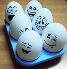 Hard-boil eggs and with a black sketch pen give each Easter egg a different emotion on their face.