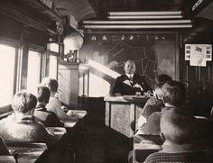 Mobile School . . . classroom on a rail car Ontario Canada 1932