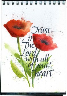 Art du Jour by Martha Lever: A little more poppy calligraphy.  Like the watercolor over the word stamp. simple but elegant.