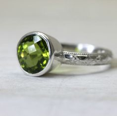 Peridot Gemstone Ring in Sterling Silver, custom sized stacking ring with art deco