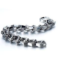 AmazonSmile: Biker Bracelet Gothic Skull Stainless Steel Bracelet for Men 8.5 Inches Vintage Old Metal Finishing: Link Bracelets: Jewelry