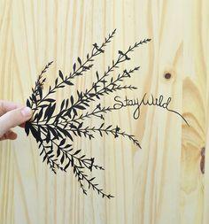 stay wild . wildflowers . original papercut . 11x14 by birdmafia